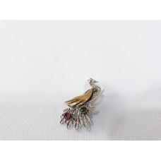 Gümüş Telkari Tavus Kuşu Broş