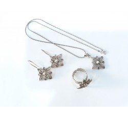 925 Ayar Gümüş Telkari Çiçek Üçlü Set