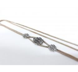 925 Ayar Gümüş Mardin Hasırı Mineli Motif İşlemeli Kolye
